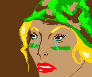 Determined female soldier angrily crying