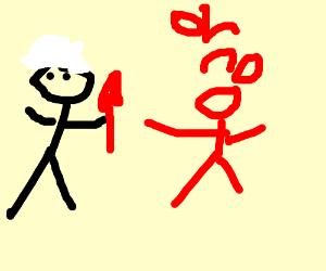 Grandma with a knife killing a man