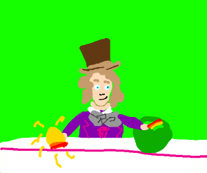 willy wonka making a new recipe