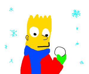 bart holds snowball