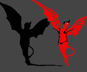 Demon girls shadow looks like a bird