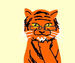 tiger with glasses thinking