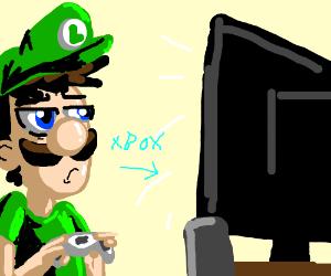 Ambivalent Luigi facing X-Box Loading Screen.