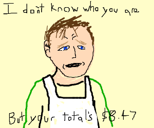 Liam Neeson as a Greengrocer