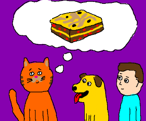 Ginger cat (Not Garfield) dreams about Lasagne