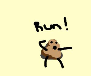 sentient poop pleads you to run away