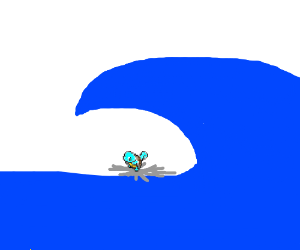 Squirtle surfs on a spiderweb