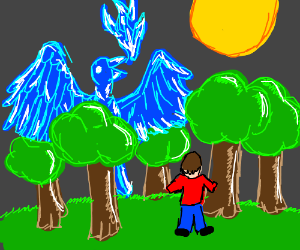 Man sees blue phoenix in the woods