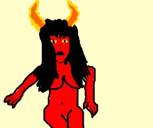 Demon girl with Homestuck horns
