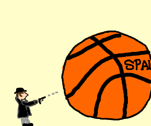 3 inch man shoots basketball. (with a gun!)