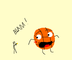 3-inch man shoots a basketball