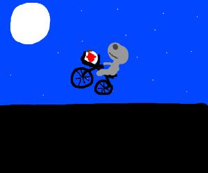 wilson in et basket flying on bike