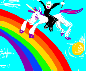 Voldemort riding a unicorn over the rainbow