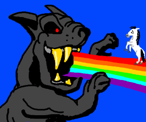 Gray beast attacks a pony on a rainbow.