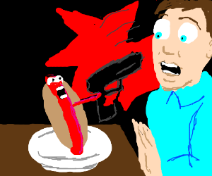 Armed Hotdog defends himself from being eaten