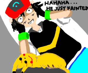 Pikachu is dead, Ash thinks he fainted...