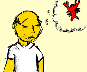 Realistic Homer S cries over Pinchy thelobster