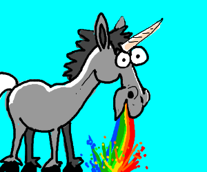 A unicorn, barfing rainbows