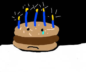 burger sad that it's his birthday