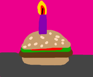 Hamburger used as a birthday cake