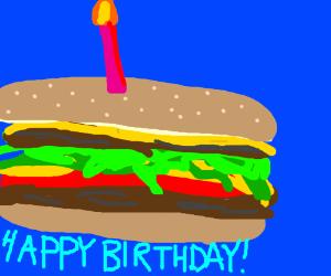 Mmmm, birthday burgercake!