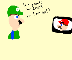 luigi is pissed cuz he's not in super mario ad