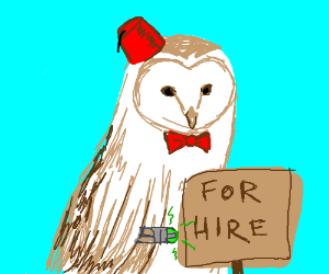 """An owl works as a """"Doctor Who"""" impersonator."""