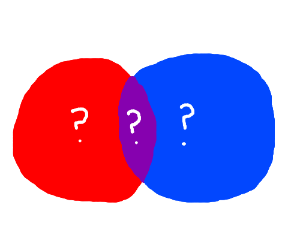 Red and Blue might results in Purple.