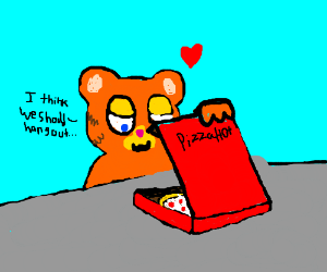 Garfield has a date with a pizza