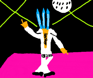 Man with 3 spikes as head dancing