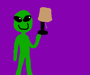 alien holding a lamp