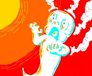 Poor ghost suffers sunburn