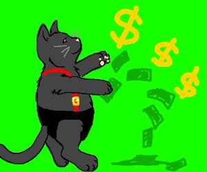 Obese black cat in suspenders makes it rain.