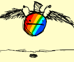 Mutant Alien Rainbow Flying Pokerface with hat