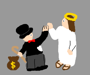 The Monopoly man and Jesus high-five