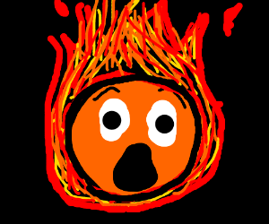 Sentient orange ball is on fire