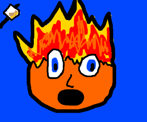 Sentient orange ball on fire
