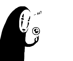 No-face curiously holding a fushigi ball