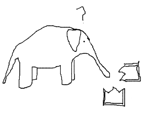 Elephant is confused! Elephant broke picture!