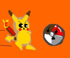 Pikachu plans to destroy pokeball