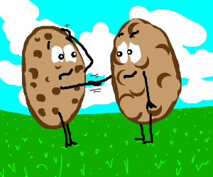 Potato shakes hand with a cookie.