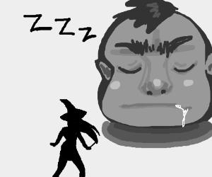 Witch vs Giant Sleeping Head.