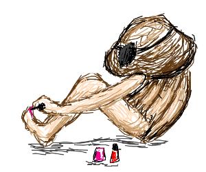 Trouble Muffin paints toenails