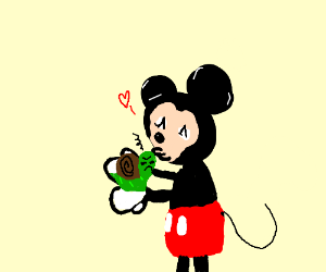 Mickey Mouse kisses a frustrated snail