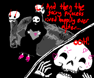 Death reads a bedtime story to himself