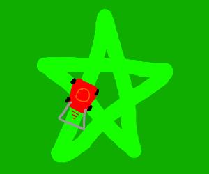 possessed garden mower mowing a pentagram