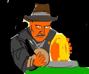 Indiana Jones stealing the idol.