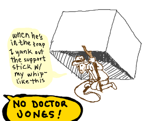Indiana Jones about to spring a trap (on him)