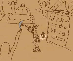 Indiana Jones explores a temple with a pickaxe