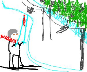 Beware man using diamond swords as ski poles